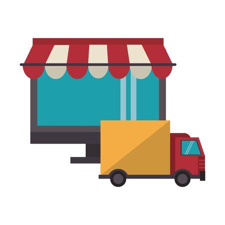 delivery commerce online sales computer cartoon vector illustration graphic design Ilustracja