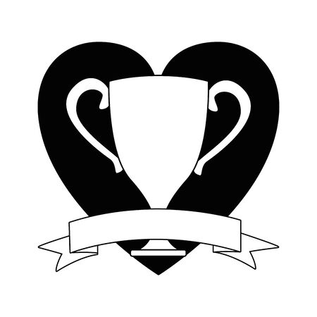 trophy cup icon cartoon isolated with heart background and ribbon banner in black and white vector illustration graphic design