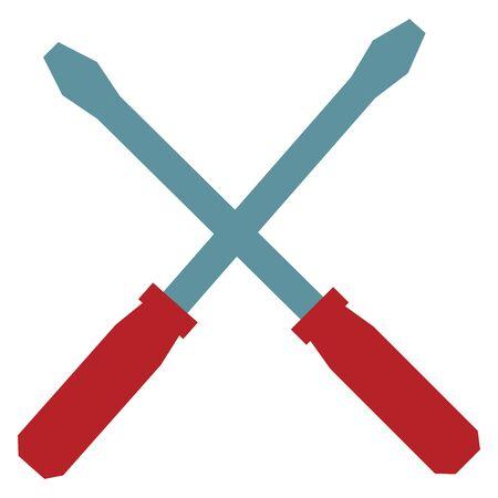 construction heavy work tools screwdrivers cartoon vector illustration graphic design