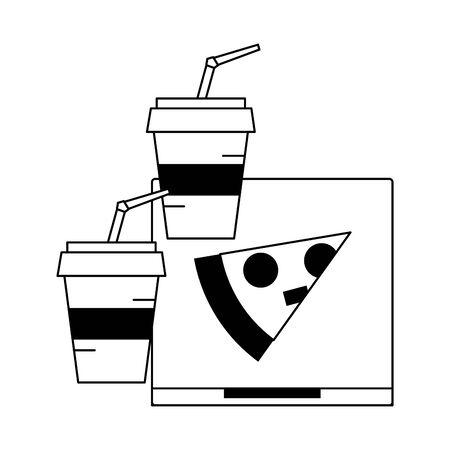 Pizza italian box fast food with soda cups vector illustration graphic design Ilustração