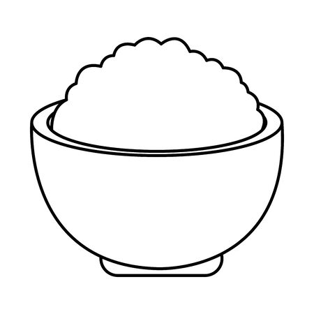 Delicioius rice in bowl food cartoon ,vector illustration graphic design.
