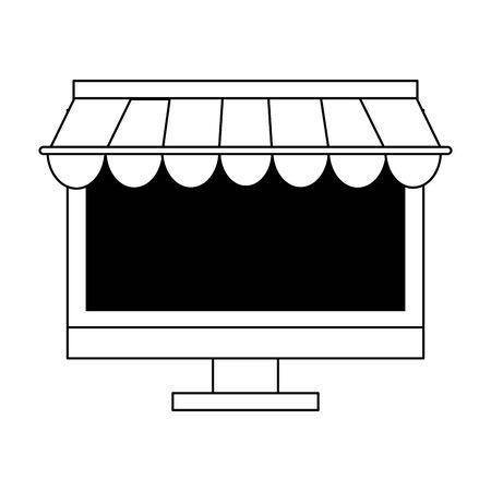 deliverycommerce online sales computer cartoon vector illustration graphic design Ilustracja
