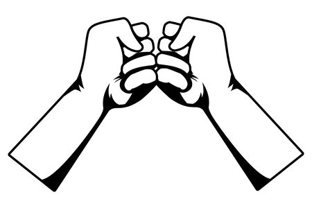 Hands clenched fist greeting cartoon vector illustration graphic design.