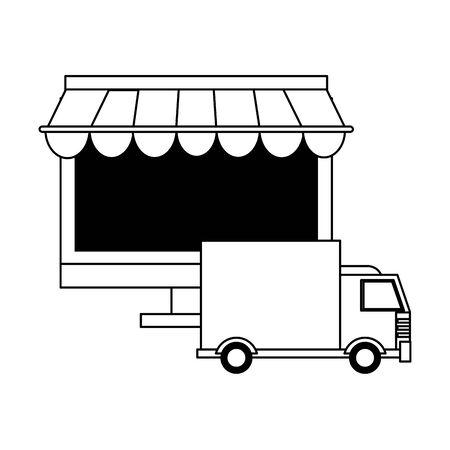 delivery commerce online sales computer cartoon vector illustration graphic design Illusztráció