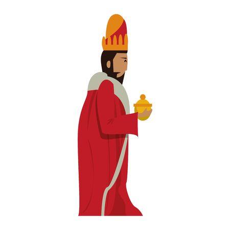 merry christmas nativity christian manger catholic religion december biblical wise man melchor scene cartoon vector illustration graphic design 일러스트