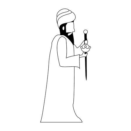 merry christmas nativity christian manger catholic religion december biblical wise man baltasar scene cartoon vector illustration graphic design