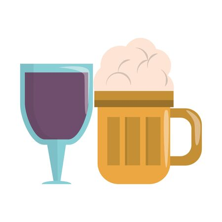 beverage liqueur and drink big glass of beer and wine cup icon cartoons vector illustration graphic design