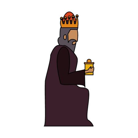 merry christmas nativity christian manger catholic religion december biblical wise man gaspar scene cartoon vector illustration graphic design 일러스트
