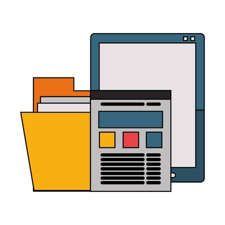 Office and business technology symbols tablet and folder with website vector illustration graphic design