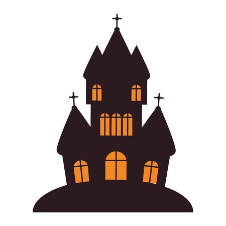 halloween october scary celebration dark house cartoon vector illustration graphic design