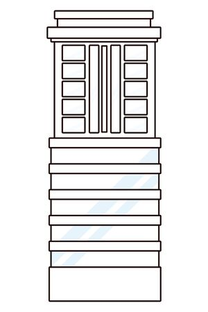 business edifice building skyscraper with windows real estate isolated in black and white vector illustration graphic design.