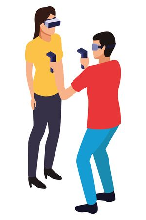virtual reality technology, young couple living a modern digital experience with headset glassesand joysticks cartoon vector illustration graphic design Stok Fotoğraf - 129376863
