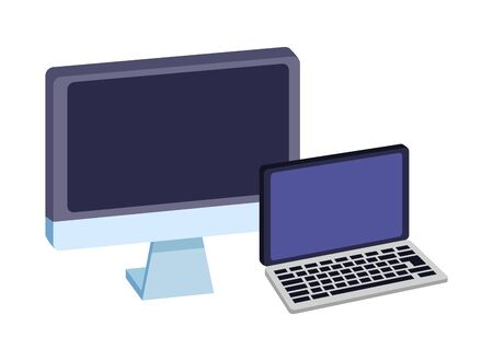 Office elements and business symbols computer and laptop ,vector illustration graphic design.