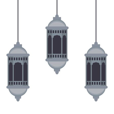 lanterns decoration festival hanging silver lamps, arabic and oriental culture cartoon vector illustration graphic design 일러스트