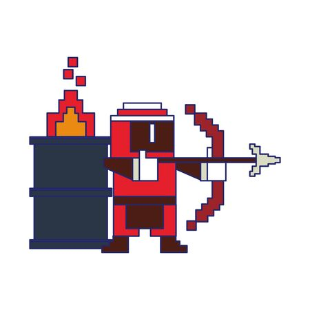 Videogame pixelated ninja with arch and barrel in fire vector illustration graphic design Stok Fotoğraf - 129377168