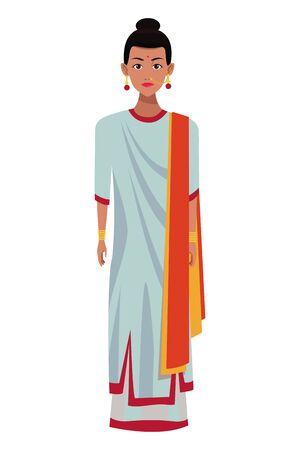indian woman with sari wearing traditional hindu clothes profile picture avatar cartoon character portrait vector illustration graphic design Banque d'images - 129382944
