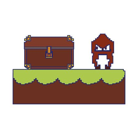 Videogame pixelated character in scenery with chest vector illustration graphic design Illusztráció