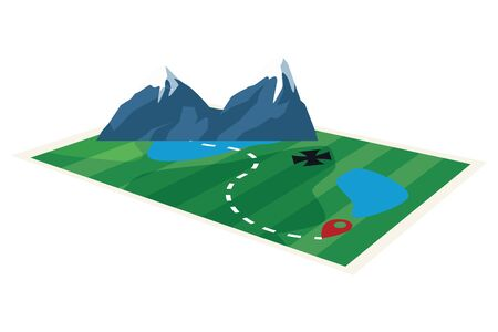 Adventure map with isometric mountains ,vector illustration .graphic design.