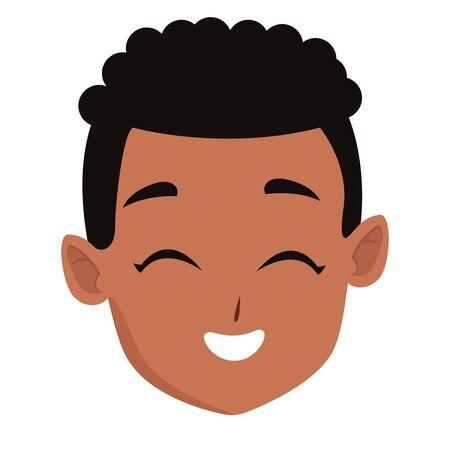 Kid afro boy face smiling cartoon vector illustration graphic design