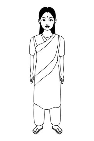 indian young girl with bindi wearing traditional hindu clothes profile picture avatar cartoon character portrait in black and white vector illustration graphic design Banque d'images - 129419950