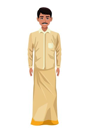 indian man with moustache wearing traditional hindu clothes profile picture avatar cartoon character portrait vector illustration graphic design Banque d'images - 129419985