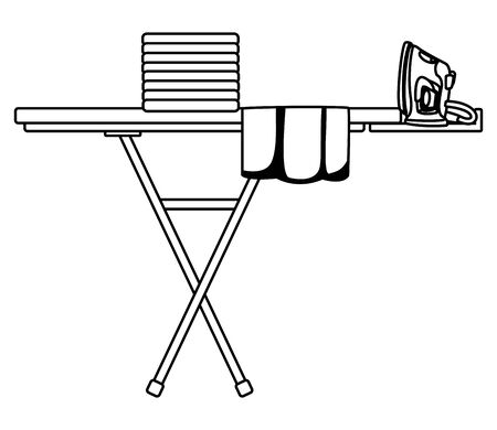 laundry wash and cleaning clothes iron, folded clothes over an ironing board icon cartoon in black and white vector illustration graphic design  イラスト・ベクター素材