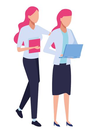 Business partners working with office documents and laptops colorful isolated faceless avatar vector illustration graphic design Çizim