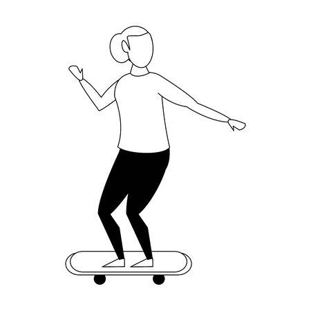 Woman riding on skateboard isolated cartoon vector illustration graphic design Illusztráció