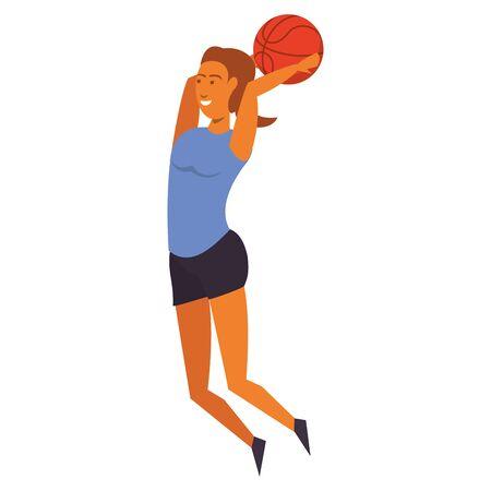 Fitness woman playing basketball sport isolated cartoon vector illustration graphic design Illusztráció