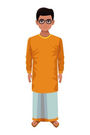 indian young boy with glasses wearing traditional hindu clothes profile picture avatar cartoon character portrait vector illustration graphic design Ilustração