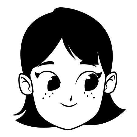 adorable cute young girl face with black hair happy childhood cartoon vector illustration graphic design