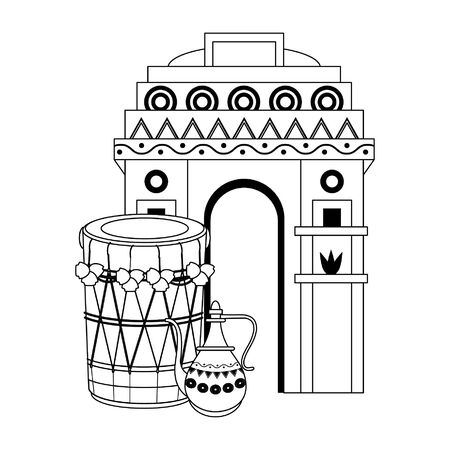 indian building monuments with gateway of india, drums and teapot icon cartoon vector illustration graphic design  イラスト・ベクター素材