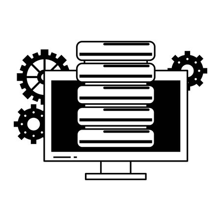 computer screen technology hardware database support cartoon vector illustration graphic design Stock Illustratie
