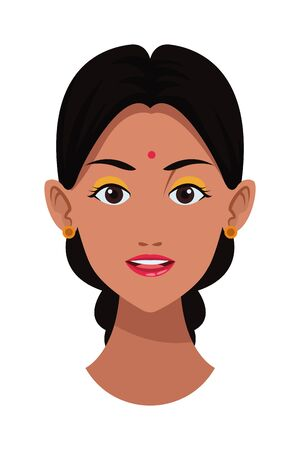 indian woman face with braid and bindi profile picture avatar cartoon character portrait vector illustration graphic design Ilustração