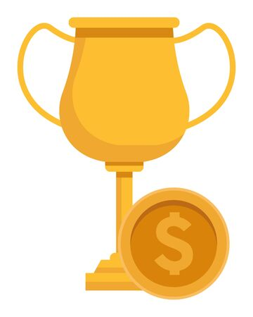 trophy cup award with money coins icon cartoon