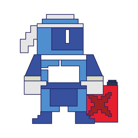Videogame pixelated ninja character with fuel can vector illustration graphic design