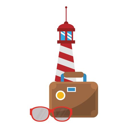Summer lighthouse suitcase and sunglasses cartoons vector illustration graphic design Çizim