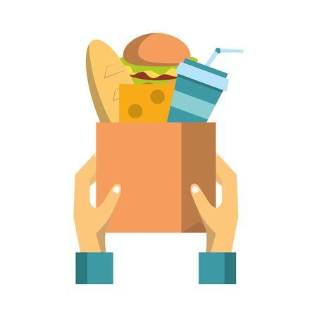 Hands holding paper bag with groceries vector illustration graphic design Stock Illustratie