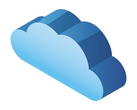 cloud computing technology 3d symbol isolated vector illustration graphic design