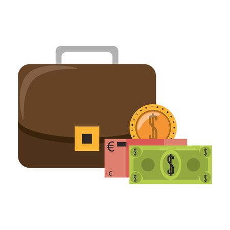 Business suitcase with euro and dollar cash vector illustration