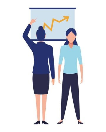 business business people businesswoman back view pointing a data chart avatar cartoon character vector illustration graphic design