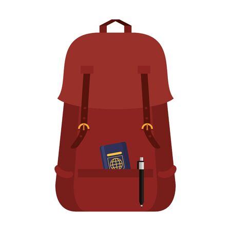 Backpack with passport and pen symbol Ilustração