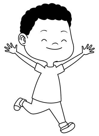 Cute boy children running, smiling and having fun cartoon vector illustration graphic design. Ilustração