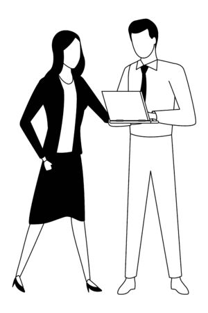 Business partners working with office laptop in black and white isolated faceless avatar vector illustration graphic design Banco de Imagens - 129423516