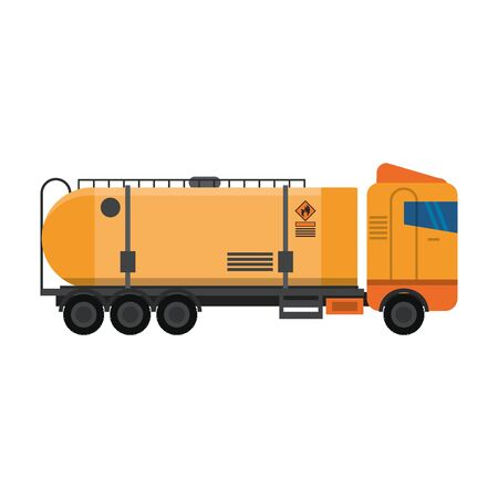Truck with fuel tank vehicle isolated sideview symbol vector illustration graphic design
