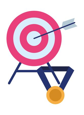 target with arrow in the middle and medal with ribbon icon cartoon Banco de Imagens - 129423702