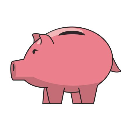Money piggy saving money symbol isolated vector illustration