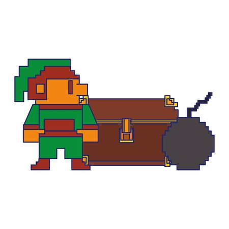 Videogame elf character pixelated with chest and bomb isolated vector illustration graphic design