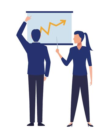 business business people businessman back view pointing a data chart and businesswoman holding a wand pointing a data chart avatar cartoon character vector illustration graphic design