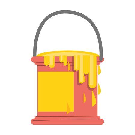 Paint bucket ith splash symbol isolated illustration editable image